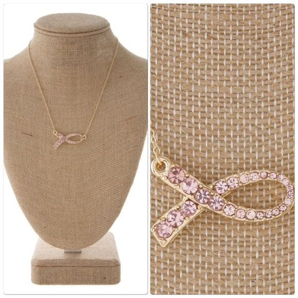 Chic by the Beach Jewelry - Pink rhinestone ribbon necklace